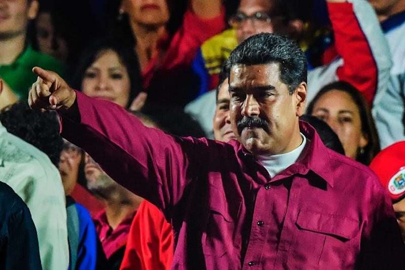 "43 prisoners behind bars for ""political violence"" were released as part of a program by Venezuelan President Nicolas Maduro, pictured May 2018 (AFP Photo/Juan BARRETO)"