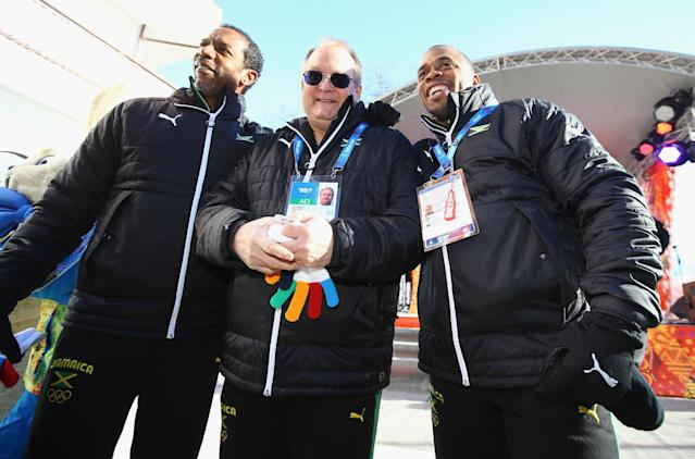 SOCHI, RUSSIA - FEBRUARY 06: Team Jamaica is welcomed into the Athletes Village ahead of the Sochi 2014 Winter Olympics at Rosa Khutor on February 6, 2014 in Sochi, Russia. (Photo by Al Bello/Getty Images)