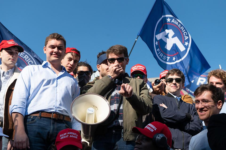 Nick Fuentes, the leader of the white nationalist America First, or Groypers, movement, in Washington, D.C., on Nov. 4. (Photo: Zach D Roberts/NurPhoto via Getty Images)
