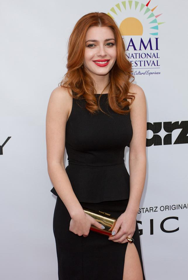 "Elena Satine attends the ""<a target=""_blank"" href=""http://tv.yahoo.com/magic-city/show/46996"">Magic City</a>"" premiere at Colony Theater on March 4, 2012 in Miami Beach, Florida."