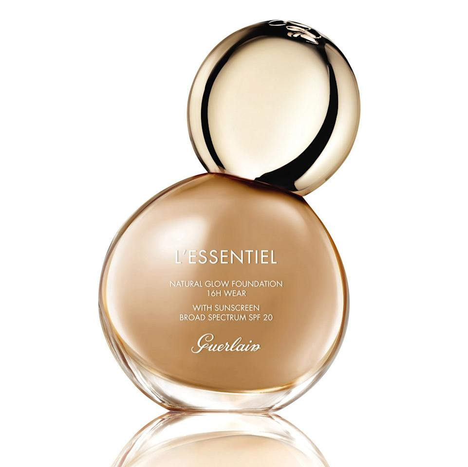 "<p>If you think the bottle of Guerlain's new L'Essentiel Foundation is beautiful, just wait until you see how its contents look on your skin. Available in 30 shades, this long-wearing liquid was formulated with 97-percent naturally-derived ingredients, including red algae and white cocoa bean to hydrate, protect, and balance skin. Its buildable coverage is easy to work with, and even easier to achieve a naturally glowy finish with.</p> <p>$60 (<a href=""https://www.sephora.com/product/l-essentiel-natural-16h-wear-foundation-spf-20-P444578"" rel=""nofollow"">Shop Now</a>)</p>"