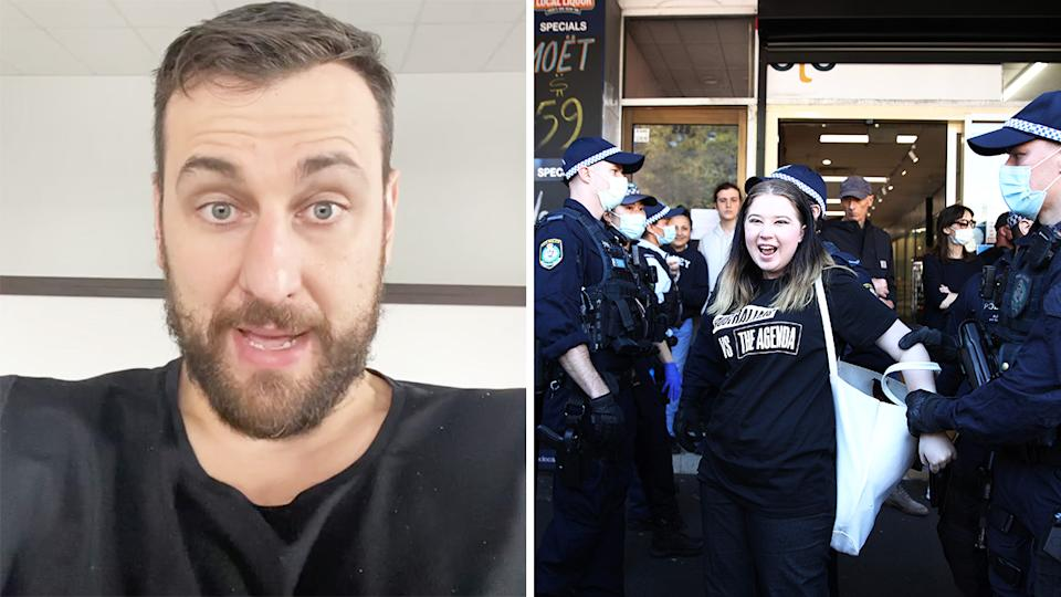 Former NBA star Andrew Bogut uploaded an 11-minute long rant to Instagram over the weekend, decrying celebrities and athletes for not speaking up as NSW and Victoria went into lockdown. Pictures: Instagram/Getty Images