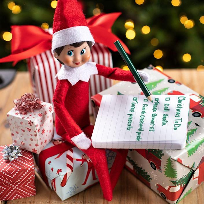 """<p>Santa's not the only one who makes a list and checks it twice! Make sure your Scout Elf keeps his responsibilities in order with a miniature checklist like this one.</p><p><strong>Get the tutorial at <a href=""""https://elfontheshelf.com/elf-ideas/scout-elf-to-do-list/"""" rel=""""nofollow noopener"""" target=""""_blank"""" data-ylk=""""slk:Elf on the Shelf"""" class=""""link rapid-noclick-resp"""">Elf on the Shelf</a>.</strong></p><p><a class=""""link rapid-noclick-resp"""" href=""""https://www.amazon.com/Elf-Shelf-Boy-Light/dp/B07TJJTBW8/?tag=syn-yahoo-20&ascsubtag=%5Bartid%7C2164.g.34080491%5Bsrc%7Cyahoo-us"""" rel=""""nofollow noopener"""" target=""""_blank"""" data-ylk=""""slk:SHOP ELF ON THE SHELF""""><strong>SHOP ELF ON THE SHELF</strong></a></p>"""