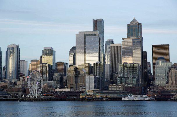 PHOTO: The Seattle skyline is pictured from a Washington State Ferry, March 4, 2020. (Jason Redmond/Reuters)