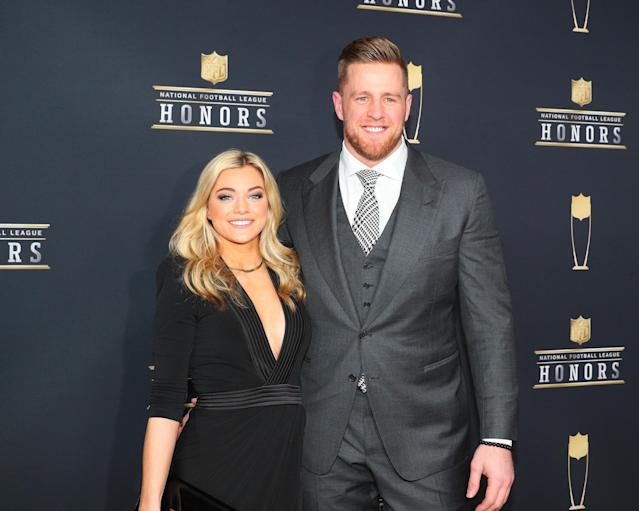 "<a class=""link rapid-noclick-resp"" href=""/nfl/players/24798/"" data-ylk=""slk:JJ Watt"">JJ Watt</a> and Kealia Ohai tied the knot in the Bahamas. (Rich Graessle/Icon Sportswire via Getty Images)"