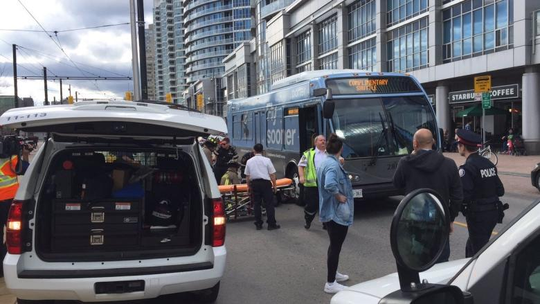 Woman struck by airport shuttle bus sent to trauma centre with serious injuries
