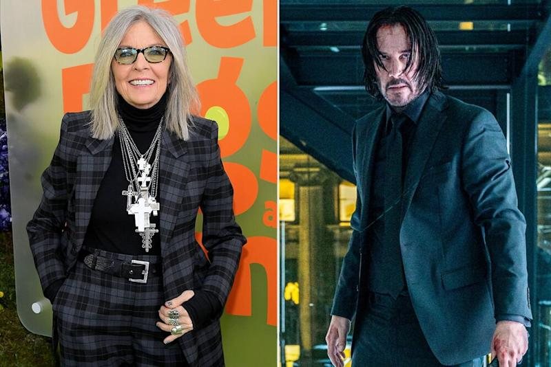 Diane Keaton, and Keanu Reeves in John Wick 3 (2019) | Getty; Niko Tavernise/Lionsgate