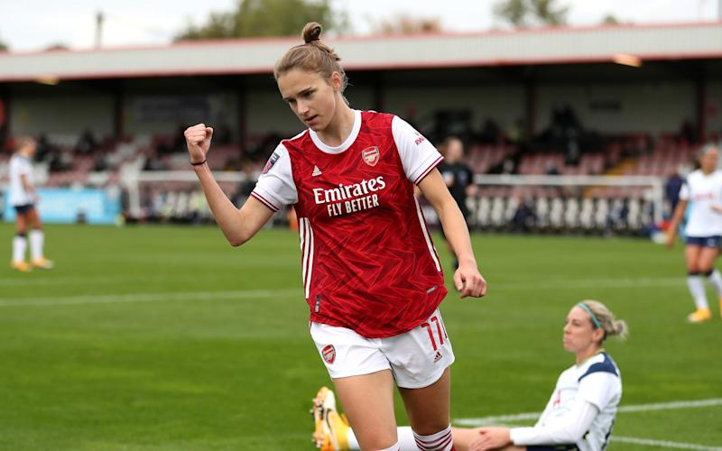 Vivianne Miedema became the first player to reach the 50-goal mark in the WSL as the Dutch star scored a hat-trick against Spurs  - GETTY IMAGES