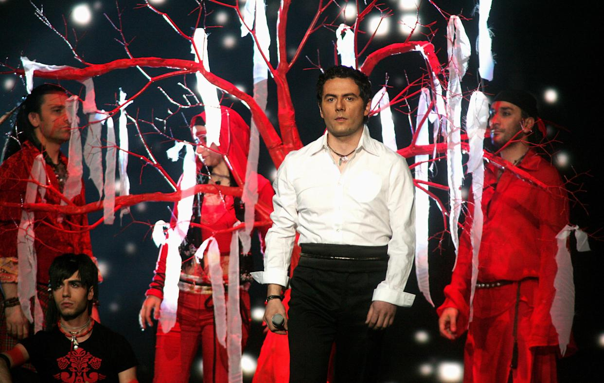 HELSINKI, FINLAND - MAY 11:  Armenia's entry to the Eurovision Song Contest 2007, Hayko performs his song