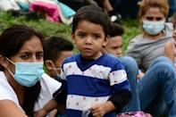 Members of the latest caravan, pictured January 14, 2021, are part of more than a dozen caravans to have set off from Honduras since October 2018