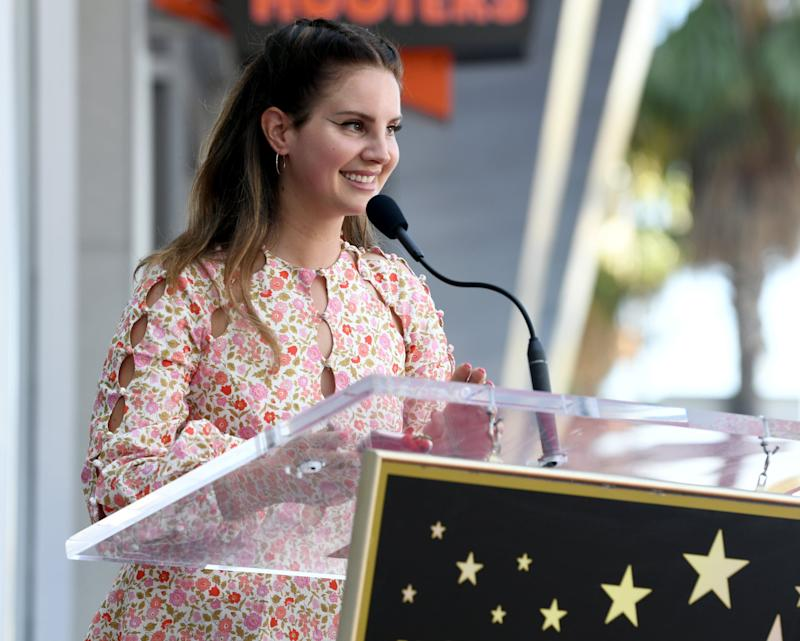 HOLLYWOOD, CALIFORNIA - AUGUST 06: Lana Del Rey appears at the Hollywood Walk of Fame ceremony honoring Guillermo del Toro on August 06, 2019 in Hollywood, California. (Photo by Kevin Winter/Getty Images)
