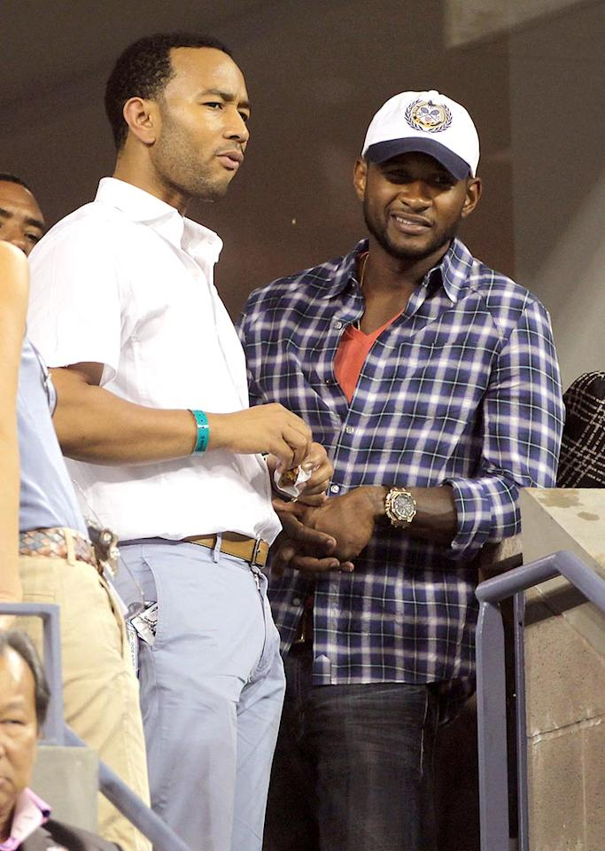 """On Monday, John Legend (pictured with Usher) performed at the Bowery Ballroom with The Roots in NYC and reportedly gave a special shout-out to Roddick, who was attending the concert in celebration of his 28th birthday and his opening match win at the U.S. Open. Who knew John, Usher, and Kanye were such tennis fans? Juan Soliz/<a href=""""http://www. PacificCoastNews.com"""" target=""""new"""">PacificCoastNews.com</a> - September 11, 2010"""