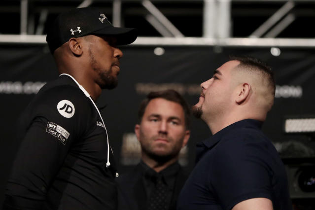 The rematch between Anthony Joshua and Andy Ruiz Jr. will take place in Diriyah, Saudi Arabia on Dec. 7. (AP Photo/Julio Cortez)