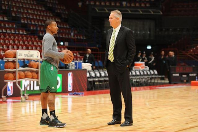 "<a class=""link rapid-noclick-resp"" href=""/nba/players/4942/"" data-ylk=""slk:Isaiah Thomas"">Isaiah Thomas</a> has been critical of Celtics president of basketball operations Danny Ainge since their divorce. (Getty Images)"