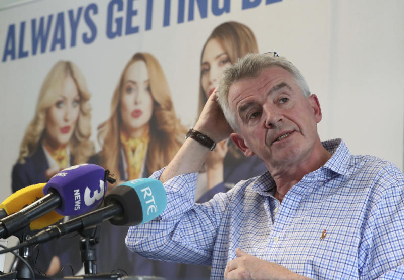Ryanair boss Michael O'Leary says only 2% of passengers have been caught up in the flights chaos (Niall Carson/PA via AP)