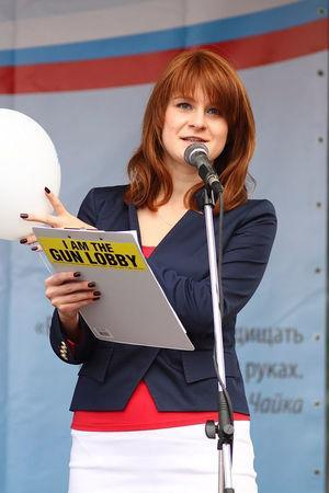 Public figure Maria Butina delivers a speech during a rally to demand the expanding of rights of Russian citizens, in this undated handout photo obtained by Reuters on July 17, 2018. Press Service of Civic Chamber of the Russian Federation/Handout via REUTERS