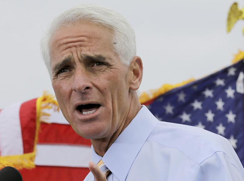 FILE - This Nov. 4, 2013 file photo shows former Florida Gov. Charlie Crist speaking in St. Petersburg, Fla. When former Gov. Charlie Crist switched parties and declared he'd run as a Democrat, his new party leaders saw a moderate candidate who could win back centrist Republican and independent voters who have soured on Gov. Rick Scott. (AP Photo/Chris O'Meara, File)