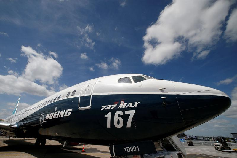 FILE PHOTO - A Boeing 737 MAX is seen on the static display, before the opening of the 52nd Paris Air Show at Le Bourget airport near Paris