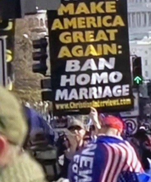 "A sign calling for a ban on ""homo marriage"" was also spotted during the Fox News broadcast. (KyaJeena/ Twitter)"