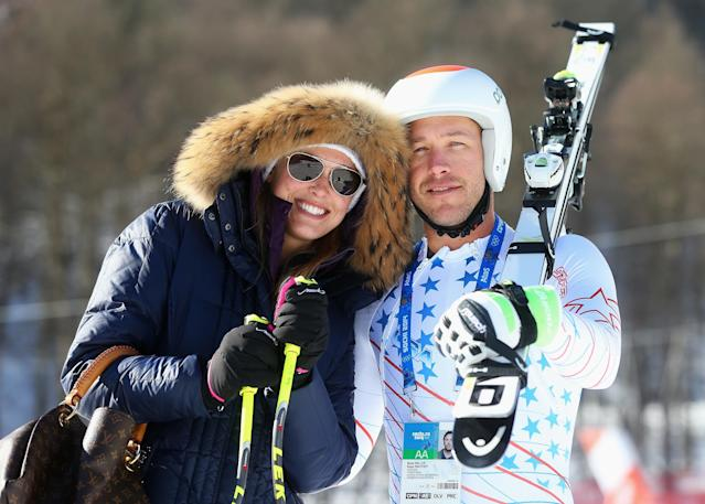 SOCHI, RUSSIA - FEBRUARY 08: Morgan Miller (L) greets her husband Bode Miller of the United States at the finish during training for the Alpine Skiing Men's Downhill during the Sochi 2014 Winter Olympics at Rosa Khutor Alpine Center on February 8, 2014 in Sochi, Russia. (Photo by Alexander Hassenstein/Getty Images)