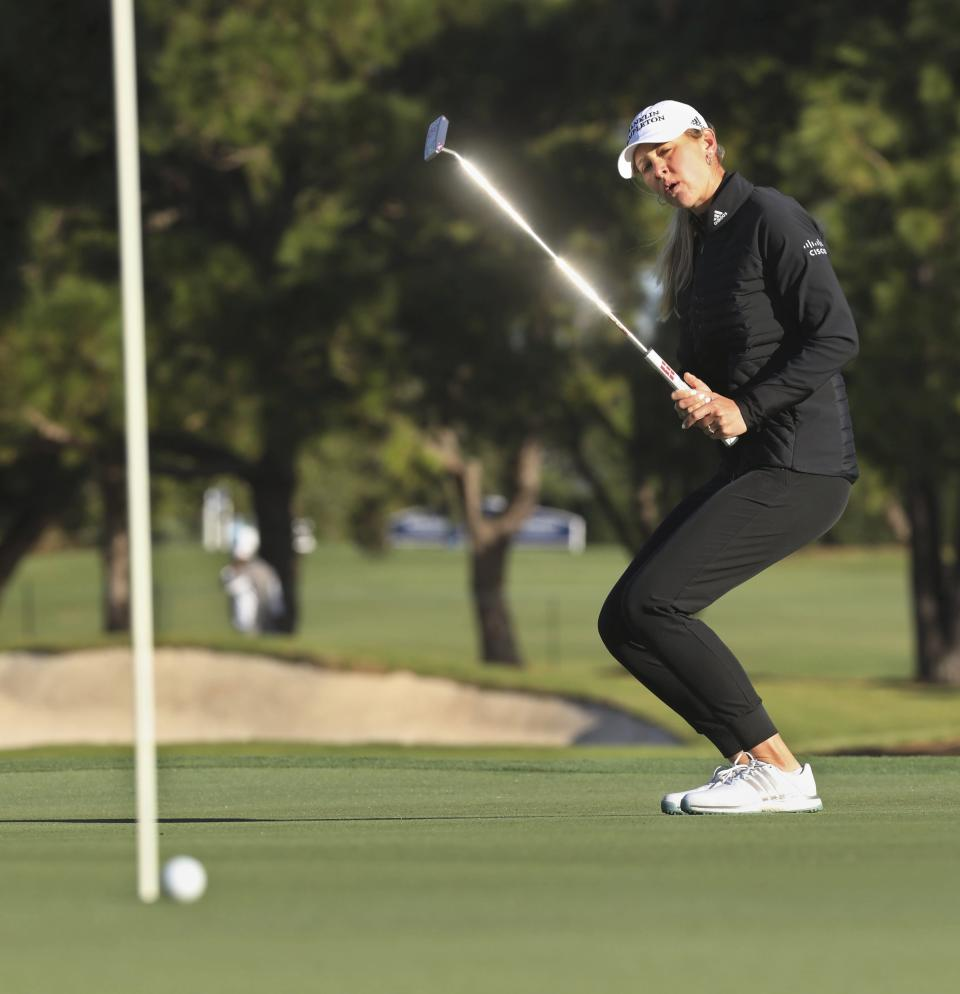 Jessica Korda watches her putt on the 17th hole during the first round of the LPGA Pelican Women's Championship golf tournament at Pelican Golf Club, Thursday, Nov. 19 2020, Belleair, Fla. (Scott Keeler/Tampa Bay Times via AP)