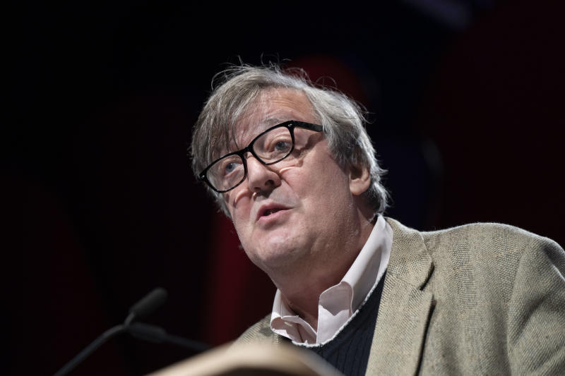 Stephen Fry, comedian, actor and writer, during the 2019 Hay Festival on May 26, 2019 in Hay-on-Wye, Wales. (Photo by David Levenson/Getty Images)