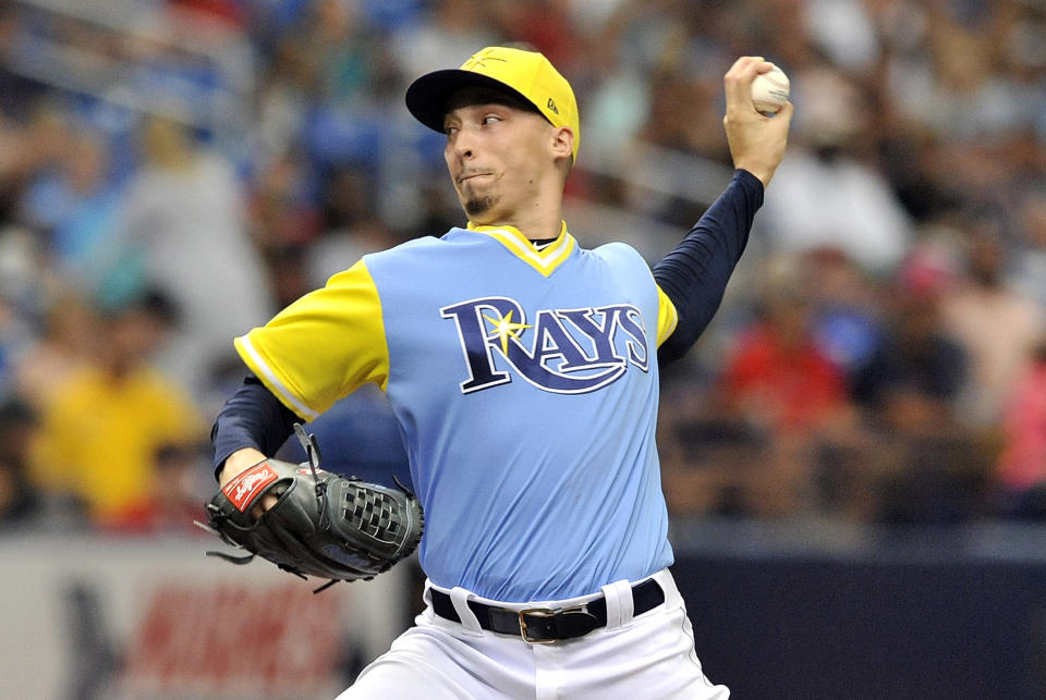 Blake Snell's fastball sits at 96 mph, two ticks up from when he arrived. (AP)