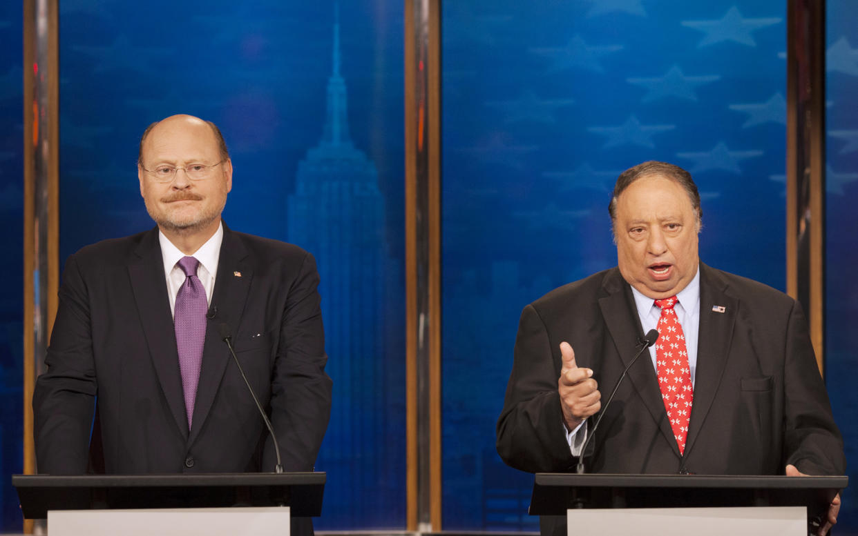 Republican candidates for mayor of New York Joe Lhota, left, and John Catsimatidis participate in a debate, Sunday, Sept. 8, 2013 in New York. The primary is Tuesday, Sept. 10 and the general election is Nov. 5. (AP Photo/Wall Street Journal, Andrew Hinderaker, Pool)