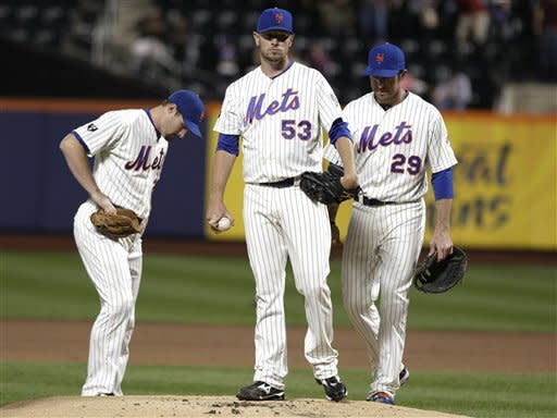 REMOVES REFERENCE TO RELIEF PITCHER - New York Mets pitcher Jeremy Hefner waits to be taken out of the baseball game against the Philadelphia Phillies during the first inning, Thursday, Sept. 20, 2012, in New York. (AP Photo/Frank Franklin II)