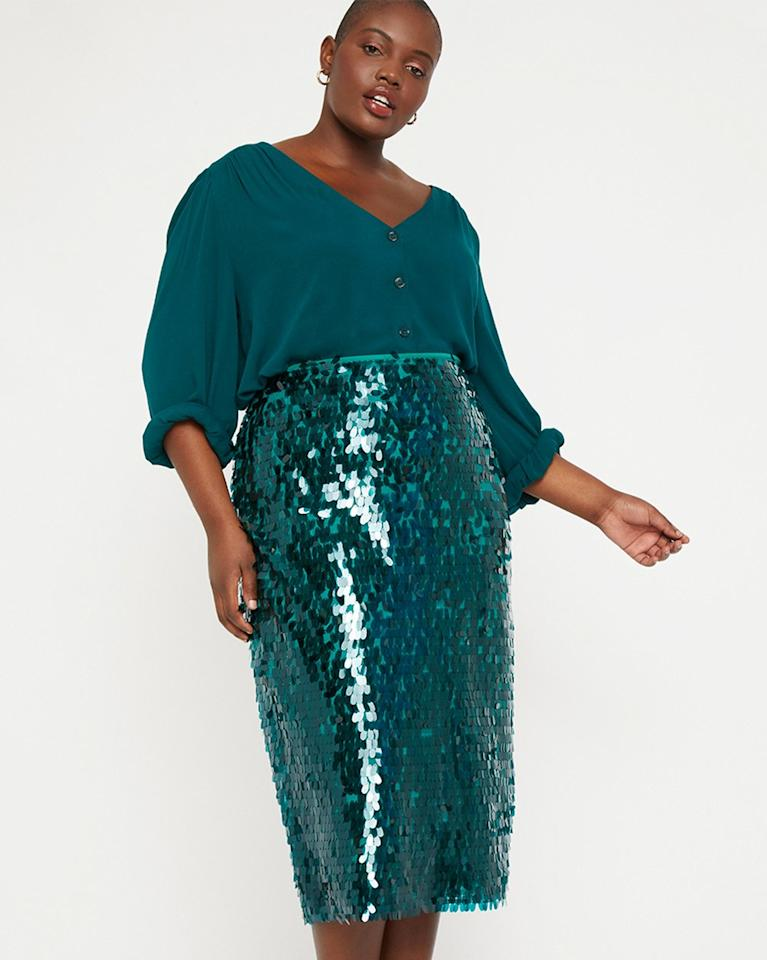 "$99.95, Eloquii. <a href=""https://www.eloquii.com/sequin-pencil-skirt/1208589.html?dwvar_1208589_colorCode=45"">Get it now!</a>"