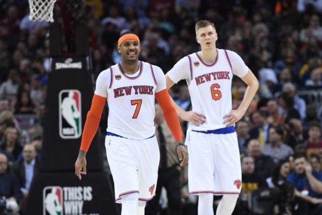 Are the Knicks still building around Carmelo Anthony and Kristaps Porzingis? (Getty Images)