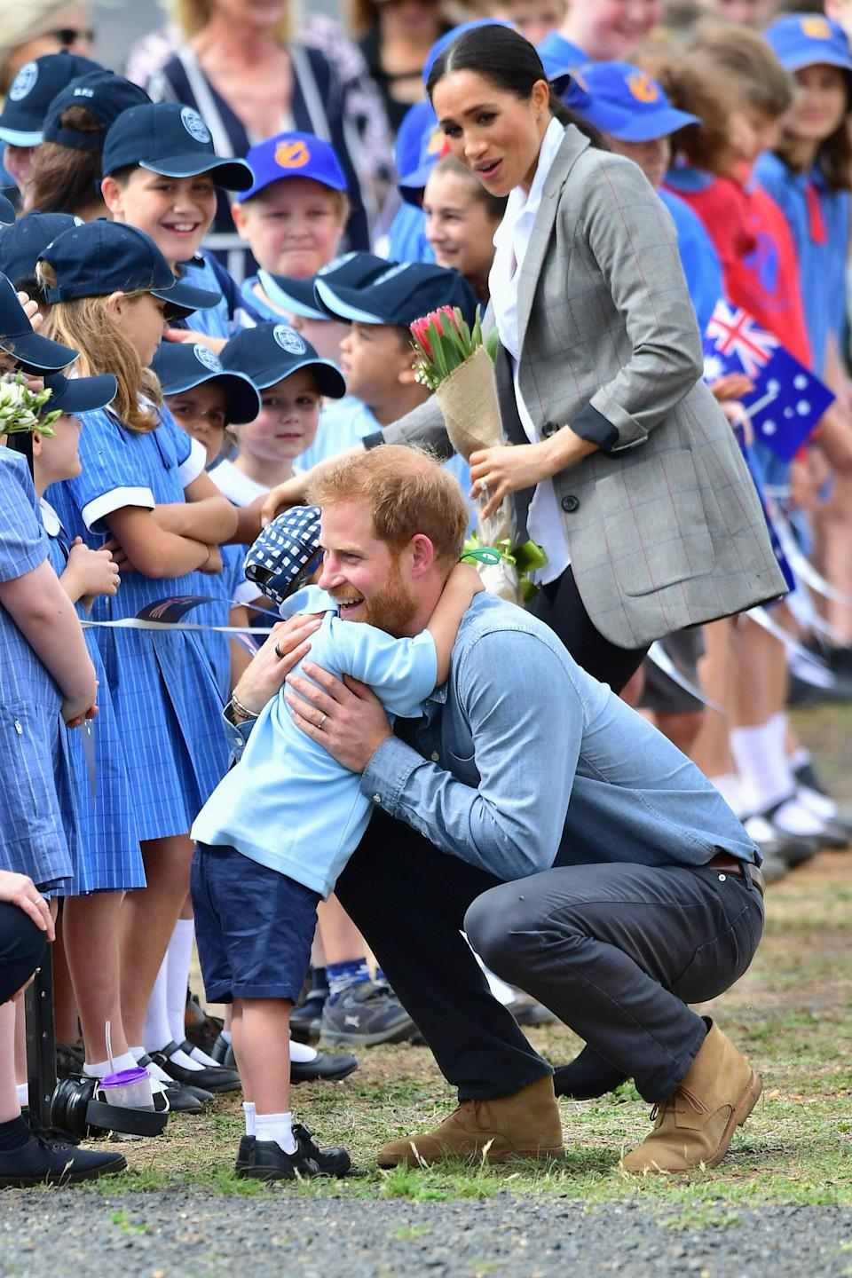 Luke Vincent, a Dubbo schoolboy, was overjoyed to meet Prince Harry. Source: Getty