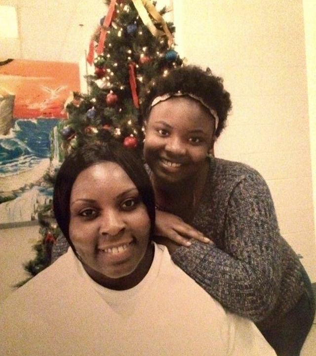 Alexis Beavers poses for a photo on a visit with her mother, who is serving a life sentence.