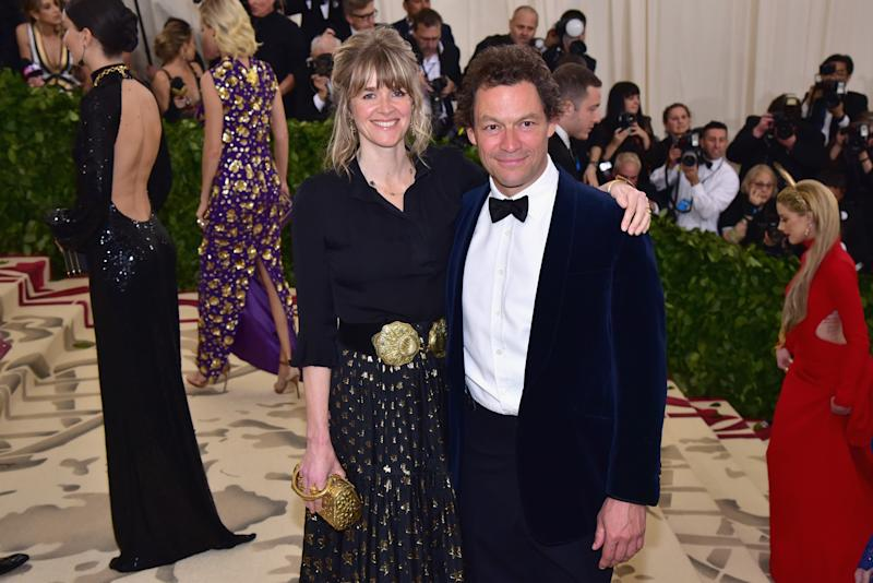 NEW YORK, NY - MAY 07: Catherine Fitzgerald and Dominic West attend the Heavenly Bodies: Fashion & The Catholic Imagination Costume Institute Gala at The Metropolitan Museum of Art on May 7, 2018 in New York City. (Photo by Sean Zanni/Patrick McMullan via Getty Images)