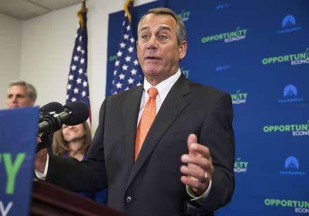 Speaker of the House John Boehner (R-OH) speaks after a House Republican caucus meeting