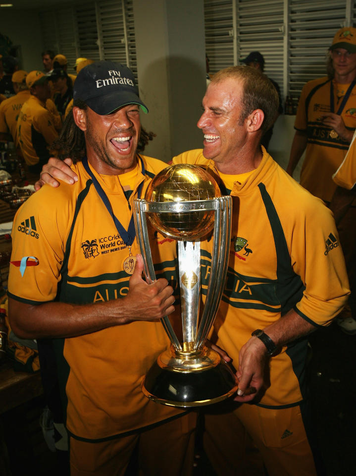 BRIDGETOWN, BARBADOS - APRIL 28: Andrew Symonds and Matthew Hayden of Australia pose with the ICC World Cup trophy after the ICC Cricket World Cup Final between Australia and Sri Lanka at the Kensington Oval on April 28, 2007 in Bridgetown, Barbados.  (Photo by Hamish Blair/Getty Images)