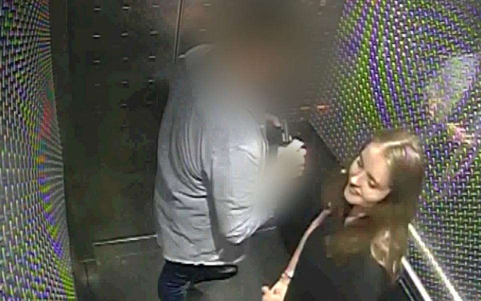 Grace Millane inside a hotel lift with the 27-year-old man who later murdered her (PA)