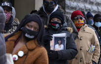 People wait on line to attend a public viewing for Cicely Tyson at the Abyssinian Baptist Church in the Harlem neighborhood of New York, Monday, Feb. 15, 2021. Tyson, the pioneering Black actress died on Jan. 28. (AP Photo/Craig Ruttle)
