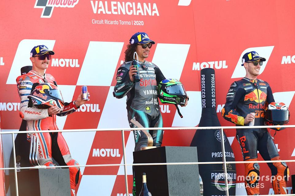"Podio: 1º Franco Morbidelli, Petronas Yamaha SRT, 2º Jack Miller, Pramac Racing, 3º Pol Espargaro, Red Bull KTM Factory Racing<span class=""copyright"">Gold and Goose / Motorsport Images</span>"