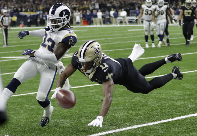 Los Angeles Rams' Nickell Robey-Coleman breaks up a pass intended for New Orleans Saints' Tommylee Lewis during the second half of the NFL football NFC championship game Sunday, Jan. 20, 2019, in New Orleans. (AP Photo/David J. Phillip)