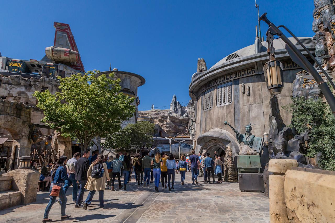 <em>Star Wars</em>: Galaxy's Edge at Disneyland Park in Anaheim, Calif., and at Disney's Hollywood Studios in Lake Buena Vista, Fla., is Disney's largest single-themed land expansion ever. Each 14-acre park will transport guests to Black Spire Outpost, a village on the planet of Batuu, where they will be immersed in the world of <em>Star Wars</em>. (Photo: Joshua Sudock/Disney Parks)