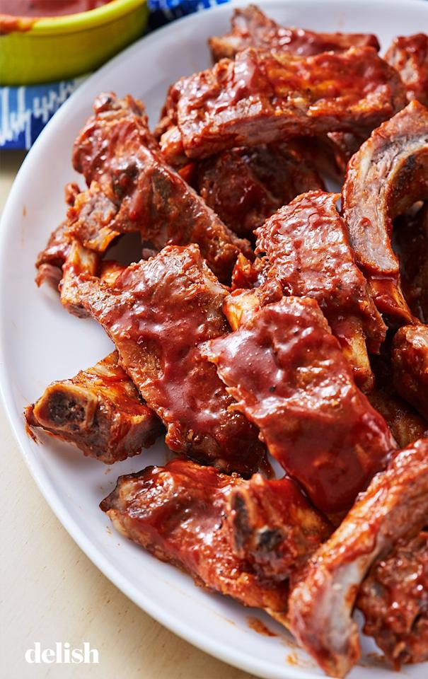 "<p>The absolute fastest way to fall-off-the-bone ribs.</p><p>Get the recipe from <a href=""https://www.delish.com/cooking/recipe-ideas/a27044004/instant-pot-ribs-recipe/"" target=""_blank"">Delish</a>.</p>"