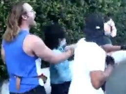 Vishal Singh, an advocacy journalist, is involved in a confrontation with anti-vaccine protesters in Los Angeles (screengrab)