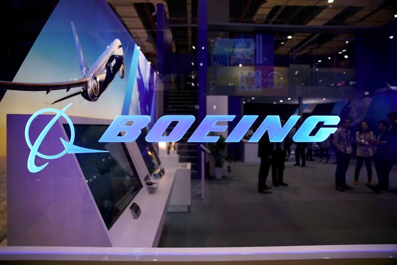 A Boeing sign is seen at the second China International Import Expo (CIIE) in Shanghai