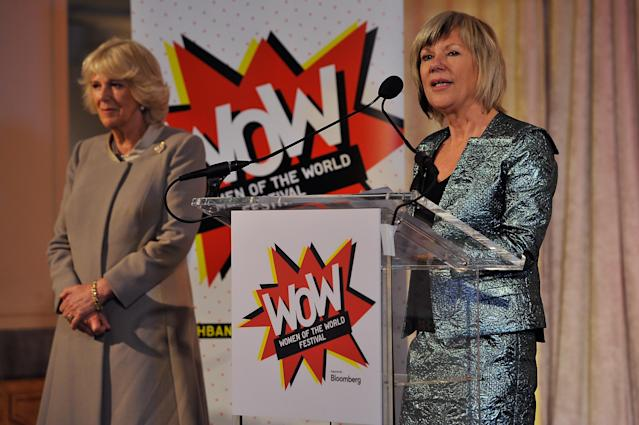 Jude Kelly and Camilla speak about the WOW festival. (Getty Images)