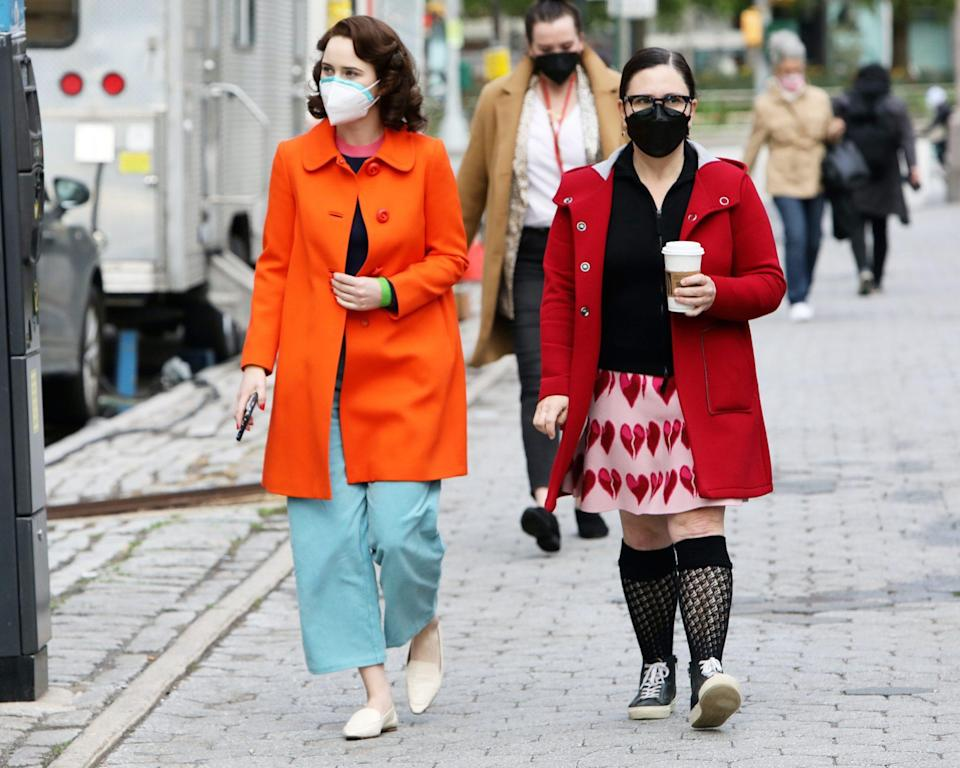 <p>Rachel Brosnahan and Alex Borstein take five on the New York City set of <em>The Marvelous Mrs. Maisel </em>on Tuesday.</p>