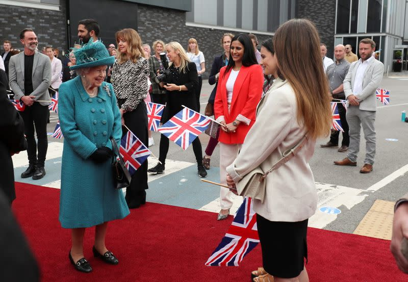 Britain's Queen Elizabeth visits the studio of the TV series 'Coronation Street', in Manchester