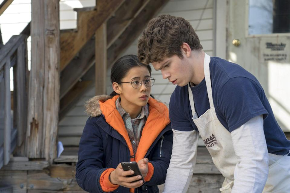 """<p>Smart and shy Ellie agrees to write love letters to a popular jock's love interest for money. She soon finds herself falling for his crush and must figure out who means more to her.</p> <p>Watch <a href=""""https://www.netflix.com/title/81005150"""" class=""""link rapid-noclick-resp"""" rel=""""nofollow noopener"""" target=""""_blank"""" data-ylk=""""slk:The Half of It""""><strong>The Half of It</strong></a> on Netflix now.</p>"""