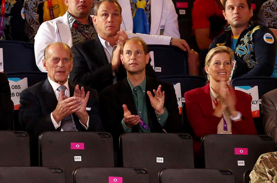 LONDON, ENGLAND - AUGUST 02:  Prince Philip, Duke of Edinburgh (L), Prince Edward, Earl of Wessex and Sophie, Countess of Wessex attend the Men's Boxing on Day 6 of the London 2012 Olympic Games at ExCeL on August 2, 2012 in London, England.  (Photo by Scott Heavey/Getty Images)