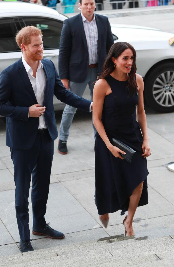 <p>For a reception at Auckland War Memorial Museum, the Duchess of Sussex recycled the now-famous Antonio Berardi dress she wore to watch Prince Harry play polo back in 2017. <em>[Photo: Getty]</em> </p>